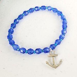 Blue Czech Glass Anchor Charm Bracelet